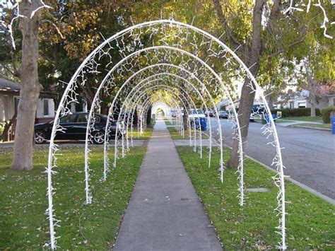 lighted arches made out of 1 2 inch pvc pipe held in place
