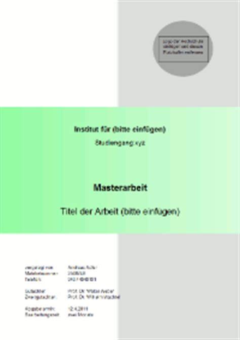 Word Vorlage Masterarbeit Gestaltung Und Inhalt Des Deckblattes Einer Master Thesis