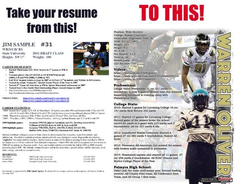 Sle High School Football Player Resume 130 best sports resumes recruiting flyers images on