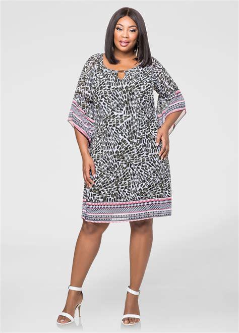 Print Chiffon Dress border print chiffon dress plus size dresses stewart