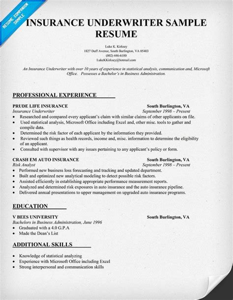 insurance underwriter resume sle resume sles