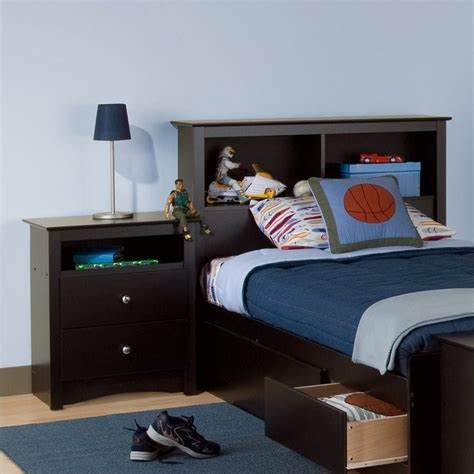 bedroom furniture bookcase headboard prepac sonoma black twin wood bookcase headboard 2 piece