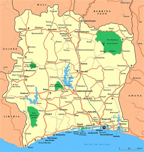 cote d ivoire africa map detailed road map of cote d ivoire with cities and