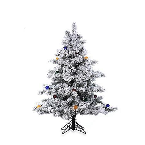 vickerman snowy alaskan cluster tree vickerman 4 5 foot flocked alaskan pine tree bed bath beyond
