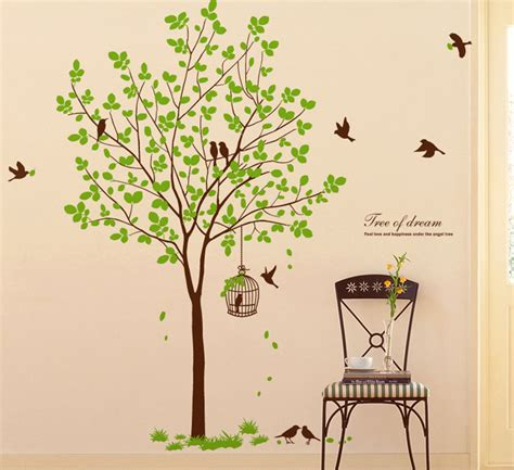 Birdcage Wall Stickers 72 quot tall large tree wall decals removable birds cage vinyl