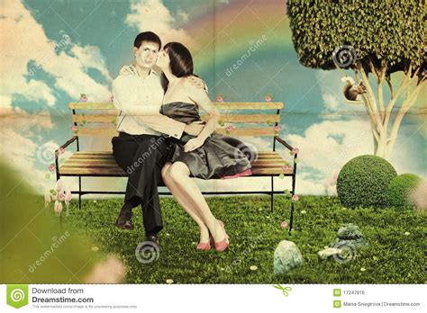 lovers on a park bench love on a park bench royalty free stock image image