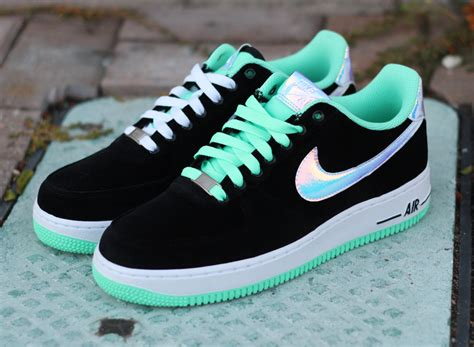 Shoe News From The Shiny Fashion Forum by Nike Air 1 Low Black Shiny Silver Green Glow
