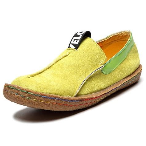 sale suede color slip on stitching flat soft