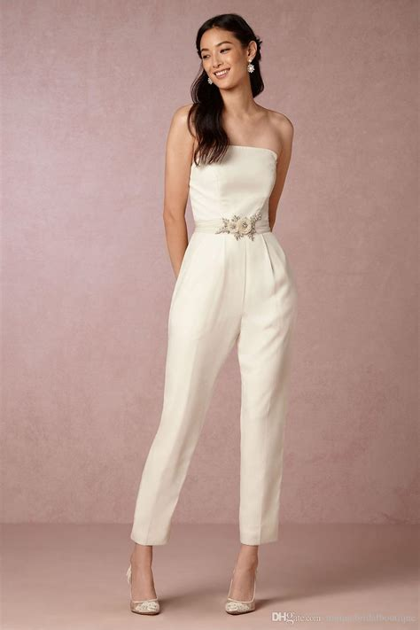 Wedding Dress Jumpsuit by Wedding Jumpsuit 2017 Bhldn With Strapless Neck And Flower