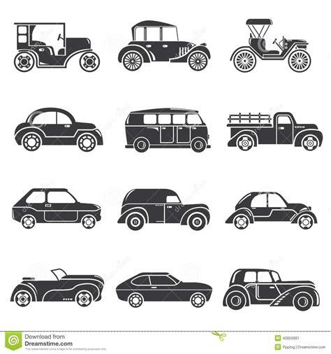 retro cer vintage car icons stock illustration image of garage