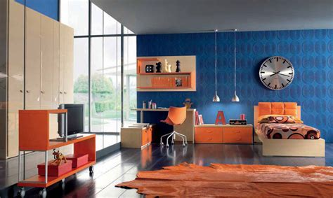 orange and blue room orange and blue childern room furniture with 3d wallpaper