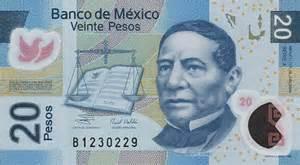 Twenty pesos mexican banknote 20 peso bill front of note