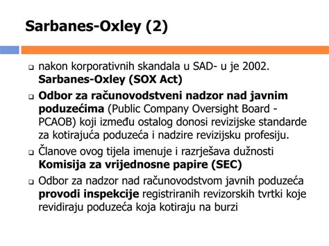 sarbanes oxley section 906 ppt mr sc sanja sever ekonomski fakultet zagreb