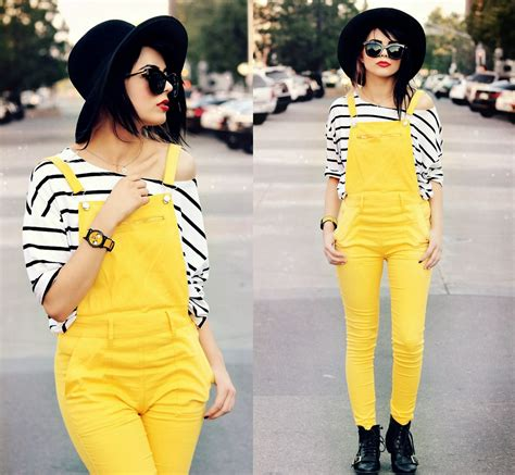 Dear Fashion Mafia Yellow Shirt by Kendall Sunglasses Striped Shirt Yellow Overalls
