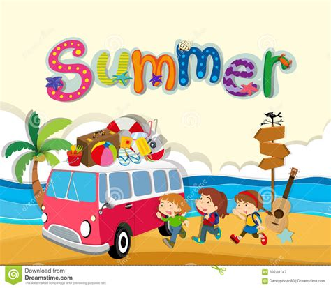 summer themes summer theme with children on the beach stock vector