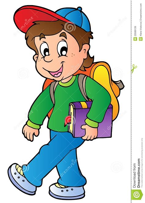 Cartoon Boy Walking To School Stock Vector Illustration Of Education Illustration 20589139 Boy Images Free