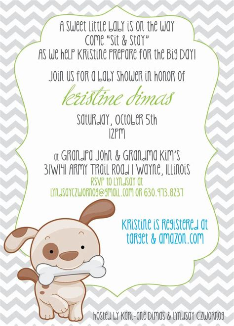 puppy themed baby shower chevron puppy or theme baby shower invitation or baby sprinkle an puppys and