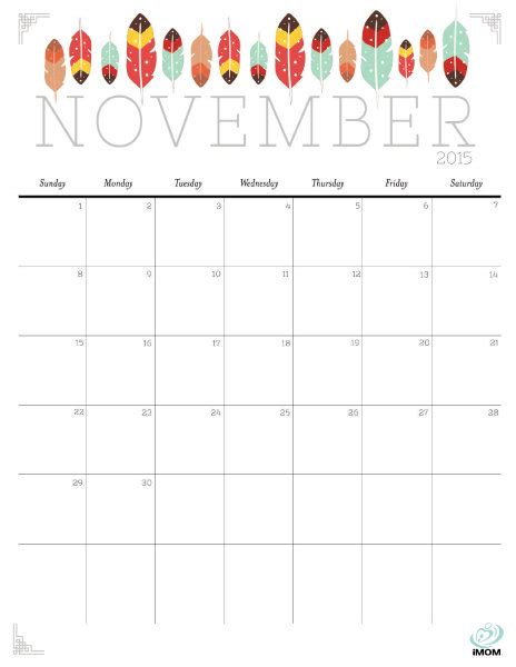 printable month planner november 2015 cute and crafty 2015 printable calendar