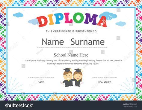 Kids Diploma Preschool Certificate Elementary School Stock
