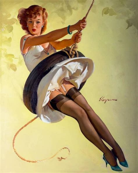 retro pin up lets eat out girl home decor canvas print gil elvgren swingin sweetie painting at 1stdibs