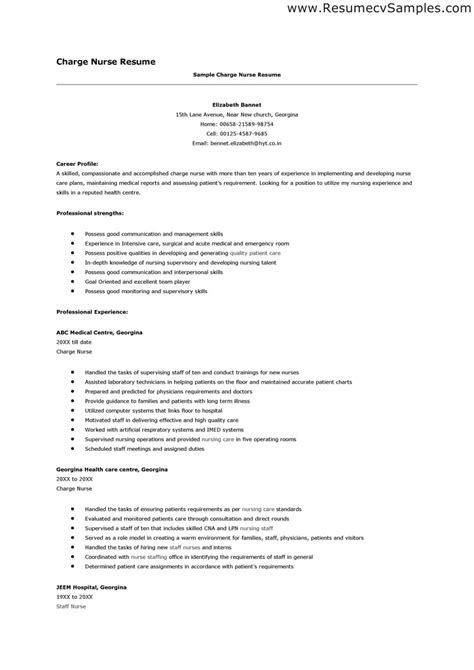 sle of nursing resume resume sle inspiration decoration
