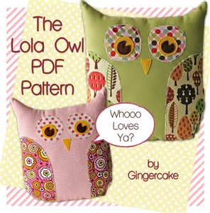 owl pillow pdf sewing pattern the lola owl pillow and bag