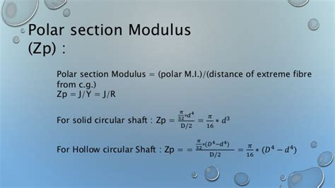 Polar Section Modulus Formula by Sa1 01 Torsion 40 55 58 61 62
