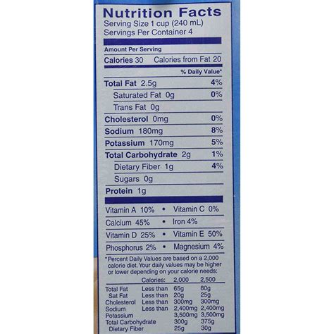 nutrition facts nutritional information almond unsweetened milk nutrition ftempo