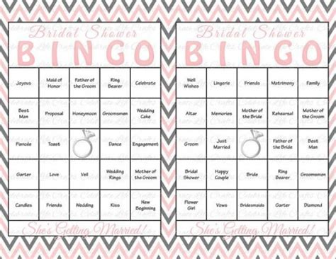 bridal shower bingo template 30 bridal shower bingo cards diy printable