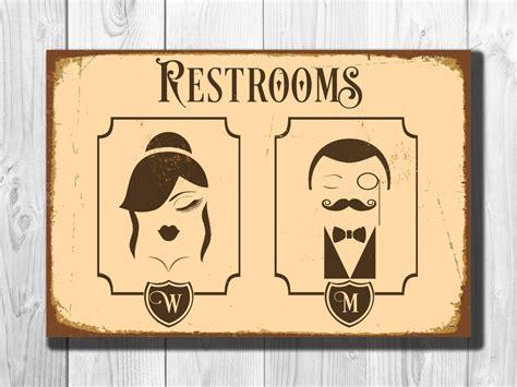 bathroom door signs vintage restrooms sign vintage style aluminum composite metal
