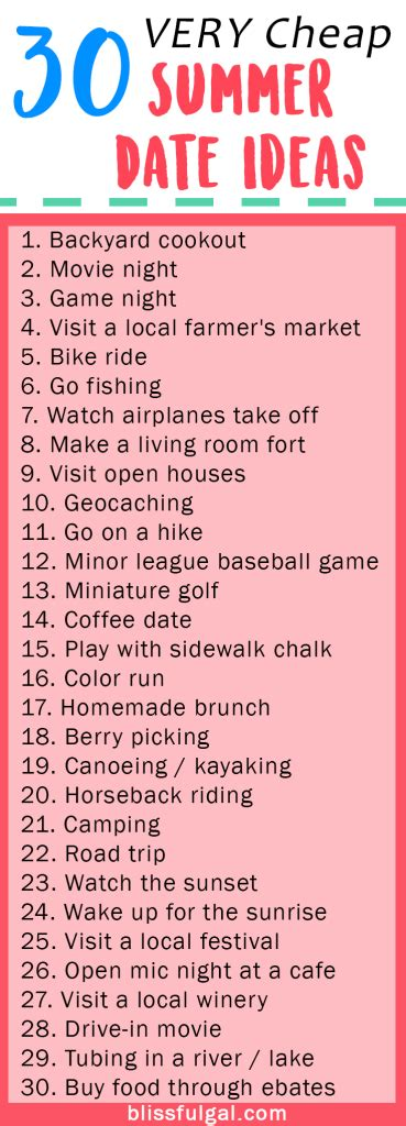 date ideas for him cheap summer date ideas some are free summer