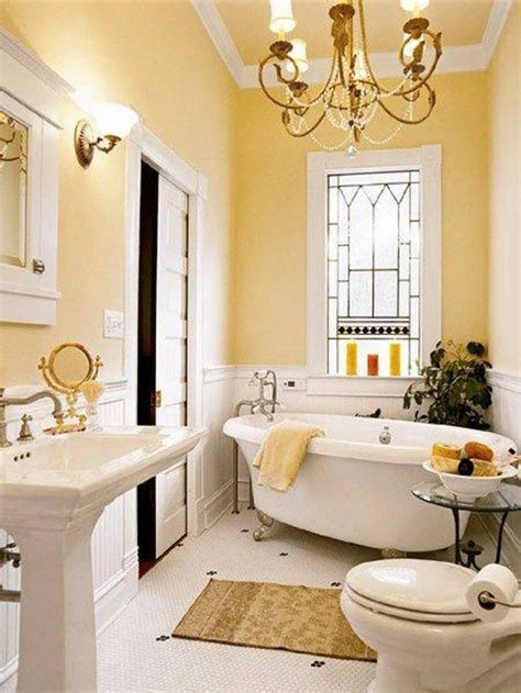 paint colors for bathrooms with yellow wall color and wainscoting and sliding door and white tub