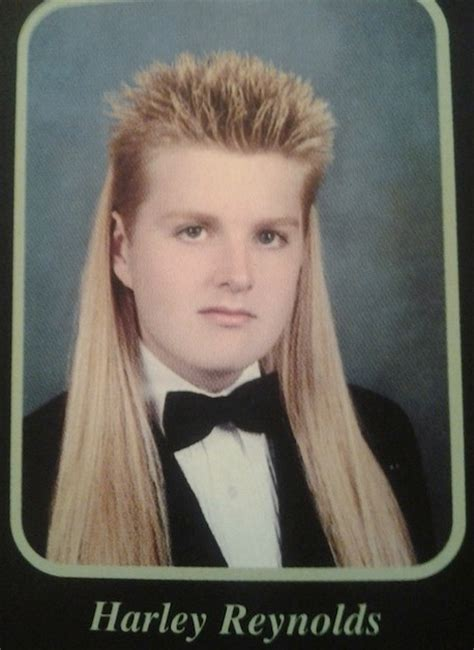 glamour mullet haircut harley s hair in high school yearbook photo massive