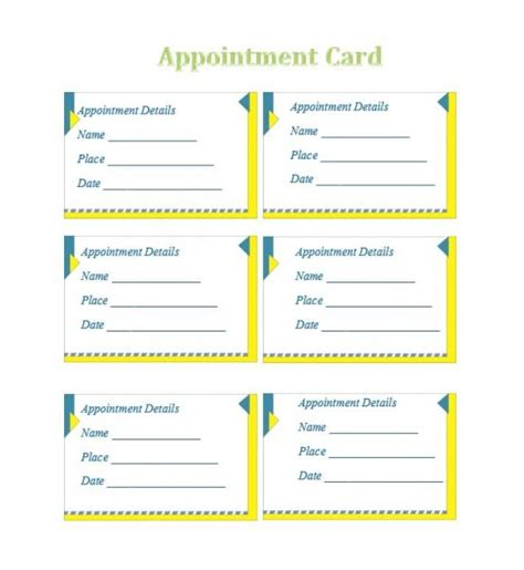 free printable appointment cards templates 40 appointment cards templates appointment reminders