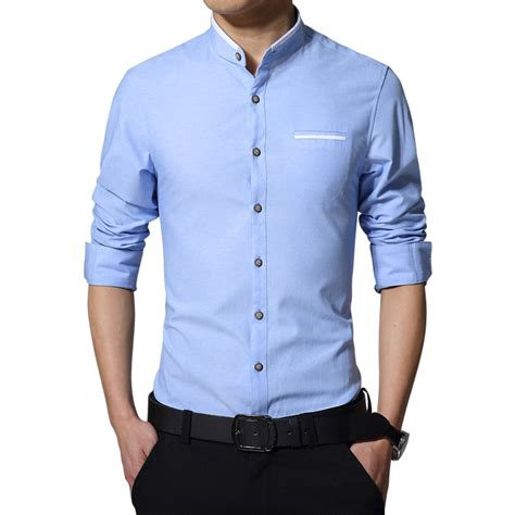 Kemeja Oxford 3 Colour buy wholesale collarless shirt from china