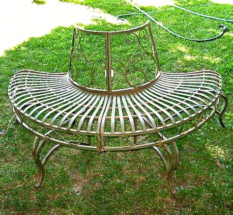 wrought iron tree bench 1 2 round tree bench plant stand 30 5 high wrought iron