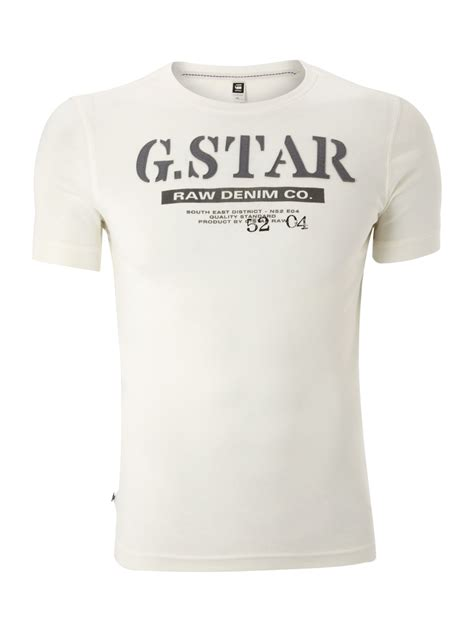 T Shirt G S g logo printed tshirt in white for lyst