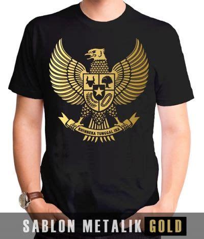 Kaos Metal Indonesia kaos sablon garuda metalik gold kaos premium