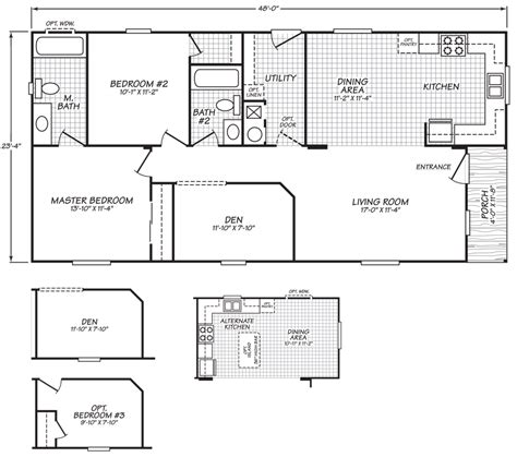 24 x 48 wide homes floor plans
