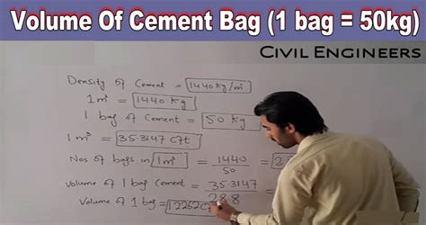 volume  cement bag  cubic meters cement bag estimate