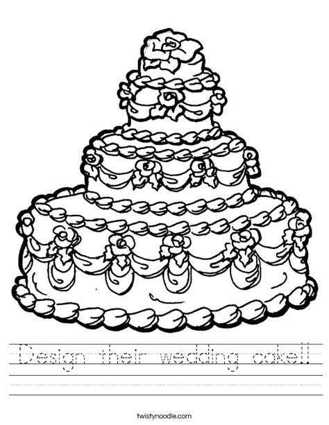 coloring page wedding cake design their wedding cake worksheet twisty noodle