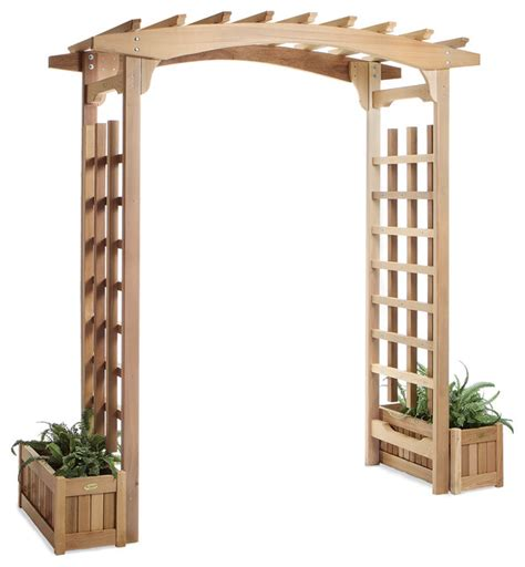 Arbor With Planters by Cedar Garden Pagoda Arbor W Planters Traditional