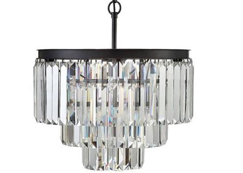 Odeon Crystal Chandelier 1920s Odeon Glass Fringe 3 Ring Chandelier Antique Farm House