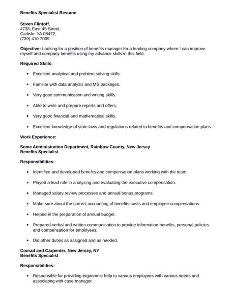 benefits specialist resume sle functional benefits specialist resume template