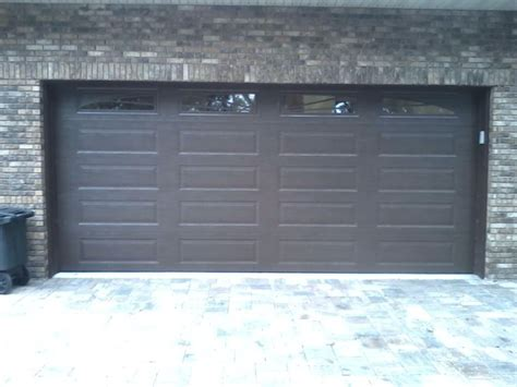 Garage Door Panel With Windows Amarr Lincoln Collection 3000 Panel In A Brown Finish With Sunray Window Inserts