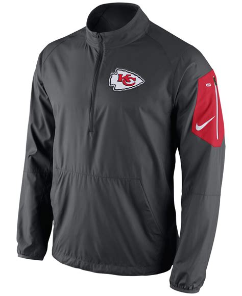Jaket Zipper Nike Logo lyst nike s kansas city chiefs lockdown half zip jacket in gray for