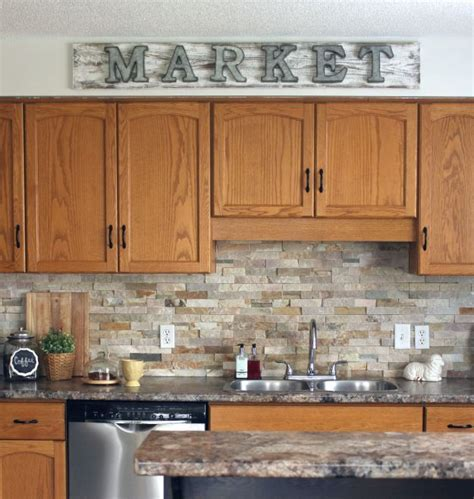 oak cabinet kitchen ideas how to make a galvanized market sign kitchens house and