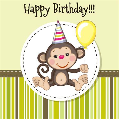 monkey birthday card template การ ดว นเก ดล งการ ต น บ ตรบ ตรเวกเตอร เวกเตอร ฟร ดาวน