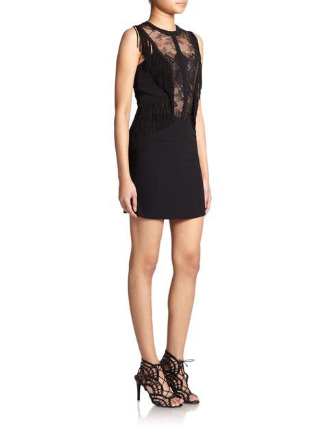 the dress lyst the kooples crepe lace fringe dress in black