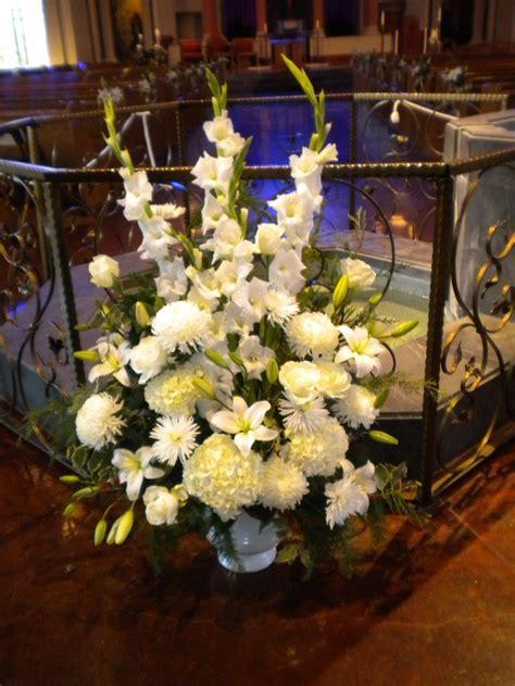 wedding flowers. baptism font arrangement. altar